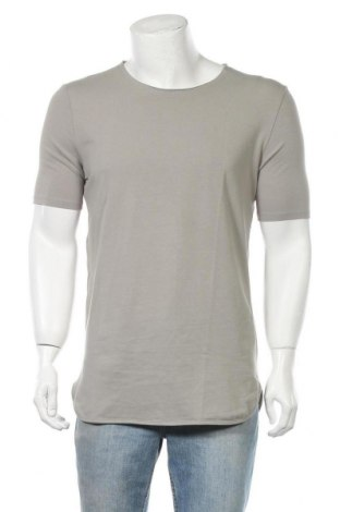 Ανδρικό t-shirt Bershka, Μέγεθος M, Χρώμα Γκρί, 95% βαμβάκι, 5% ελαστάνη, Τιμή 12,06€