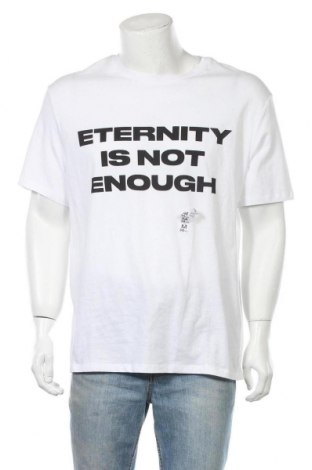 Ανδρικό t-shirt Bershka, Μέγεθος M, Χρώμα Λευκό, Βαμβάκι, Τιμή 12,06€