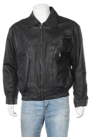 Ανδρικό δερμάτινο μπουφάν Berto Lucci, Μέγεθος M, Χρώμα Μαύρο, Γνήσιο δέρμα, Τιμή 26,19€
