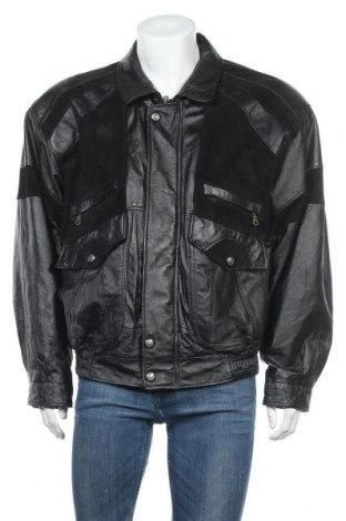 Ανδρικό δερμάτινο μπουφάν Berto Lucci, Μέγεθος XL, Χρώμα Μαύρο, Γνήσιο δέρμα, φυσικό σουέτ, Τιμή 40,33€