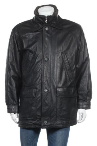 Ανδρικό δερμάτινο μπουφάν Berto Lucci, Μέγεθος L, Χρώμα Μαύρο, Γνήσιο δέρμα, Τιμή 22,44€