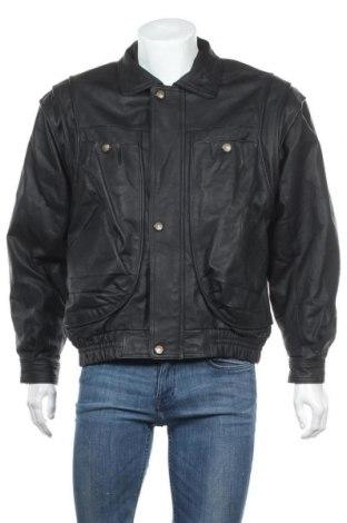 Ανδρικό δερμάτινο μπουφάν Berto Lucci, Μέγεθος L, Χρώμα Μαύρο, Γνήσιο δέρμα, Τιμή 45,59€