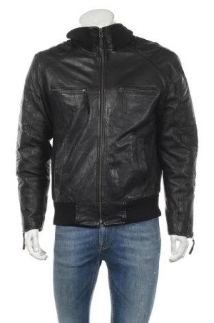 Мъжко кожено яке Bruno Banani, Размер S, Цвят Черен, Естествена кожа, Цена 21,74лв.