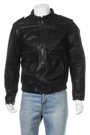 Мъжко кожено яке Clockhouse, Размер L, Цвят Черен, Естествена кожа, Цена 67,83лв.