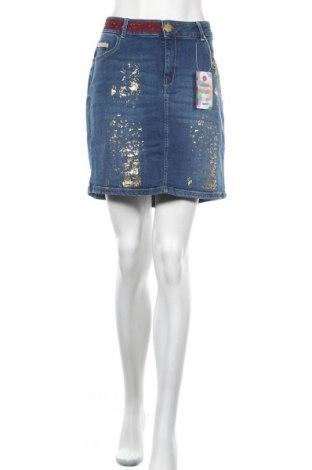 Φούστα Desigual, Μέγεθος XL, Χρώμα Μπλέ, 98% βαμβάκι, 2% ελαστάνη, Τιμή 22,48€