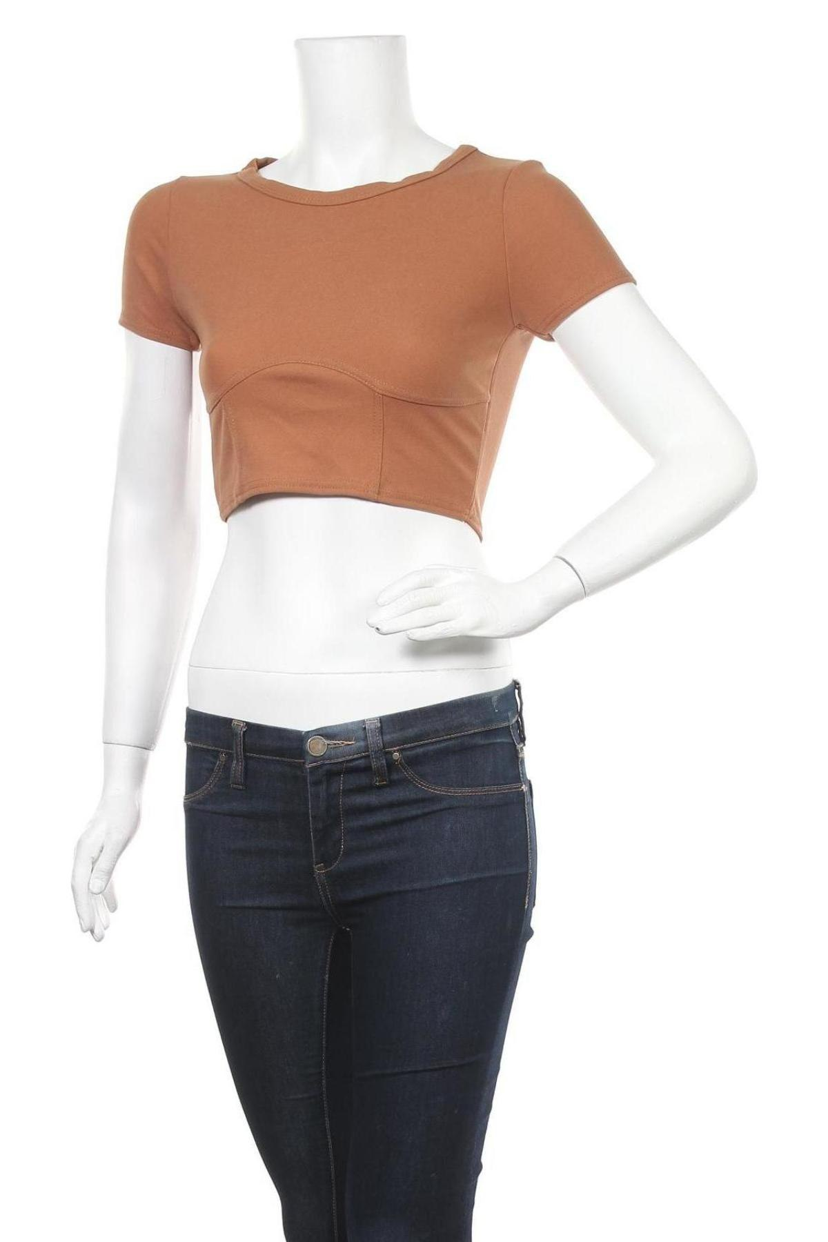 Дамска блуза Stylewise, Размер S, Цвят Кафяв, 95% полиестер, 5% еластан, Цена 14,40лв.