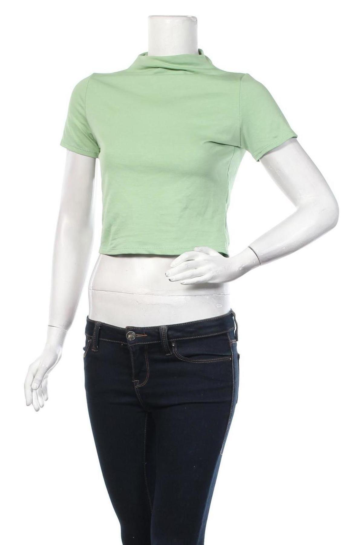 Дамска блуза Stylewise, Размер S, Цвят Зелен, 95% памук, 5% еластан, Цена 12,80лв.