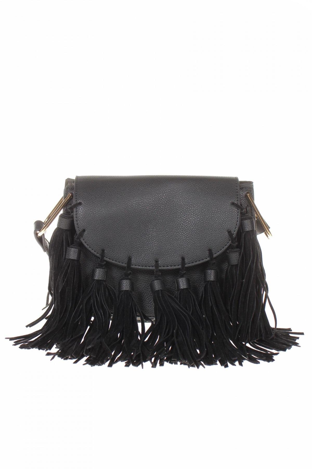 Дамска чанта Cropp, Цвят Черен, Еко кожа, Цена 17,60лв.