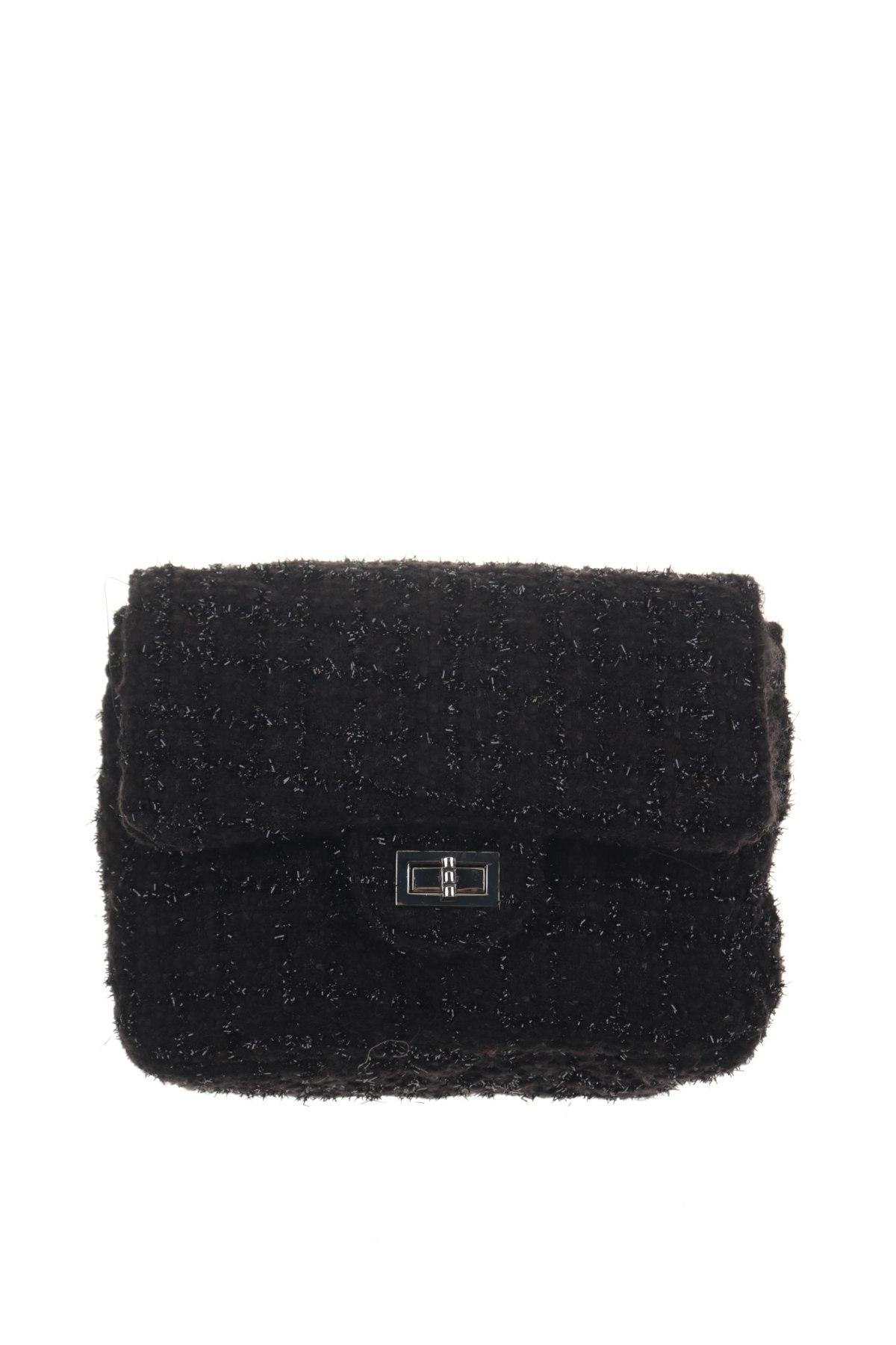 Дамска чанта Reserved, Цвят Черен, Текстил, Цена 26,95лв.