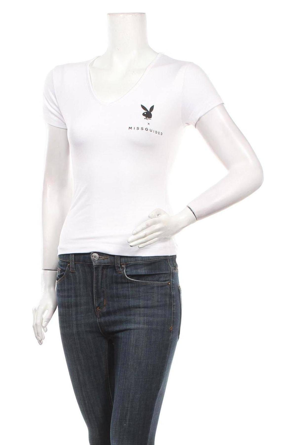 Дамска тениска Missguided, Размер S, Цвят Бял, 75% полиестер, 20% вискоза, 5% еластан, Цена 23,24лв.