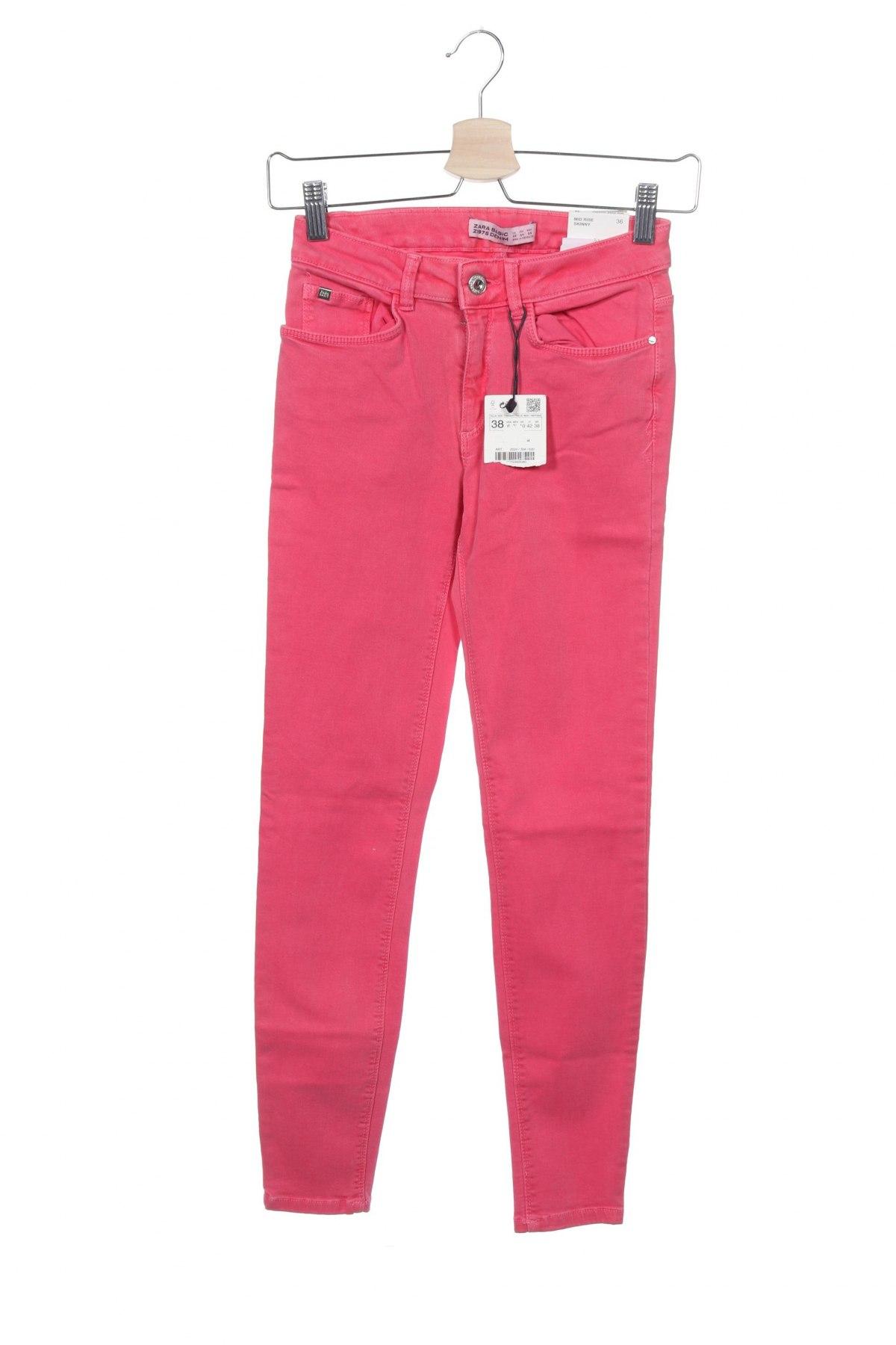 Дамски дънки Zara, Размер XS, Цвят Розов, 91% памук, 6% полиестер, 3% еластан, Цена 22,05лв.