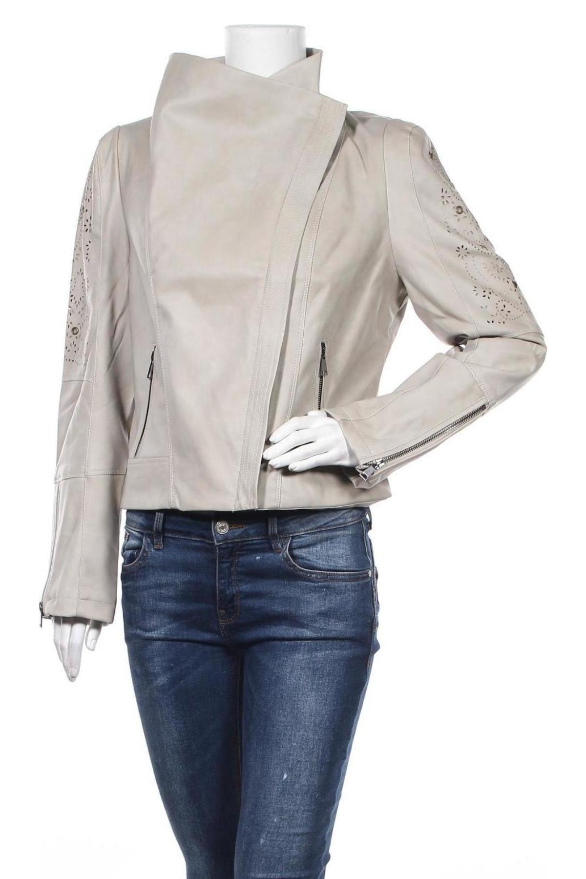 Дамско кожено яке Desigual, Размер XL, Цвят Бежов, Еко кожа, Цена 83,65лв.