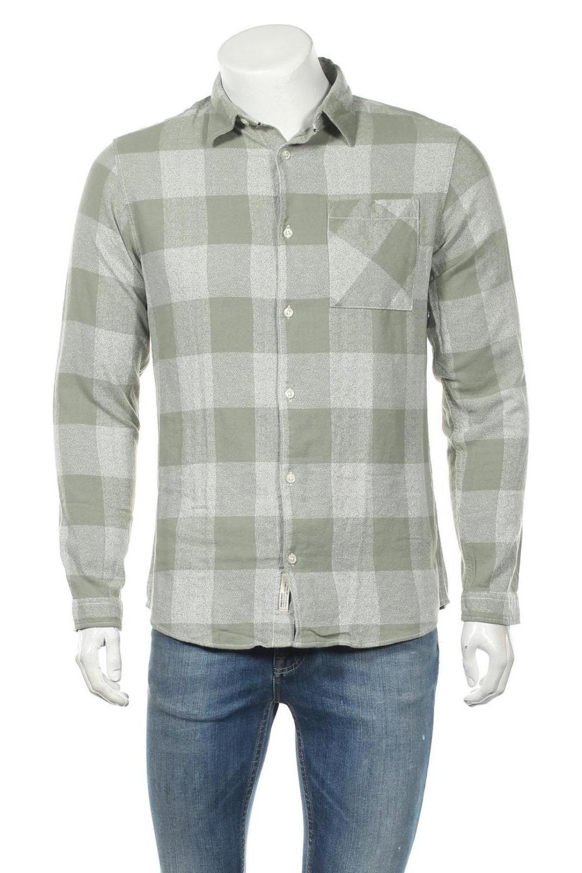 Мъжка риза Originals By Jack & Jones, Размер M, Цвят Зелен, Памук, Цена 44,25лв.