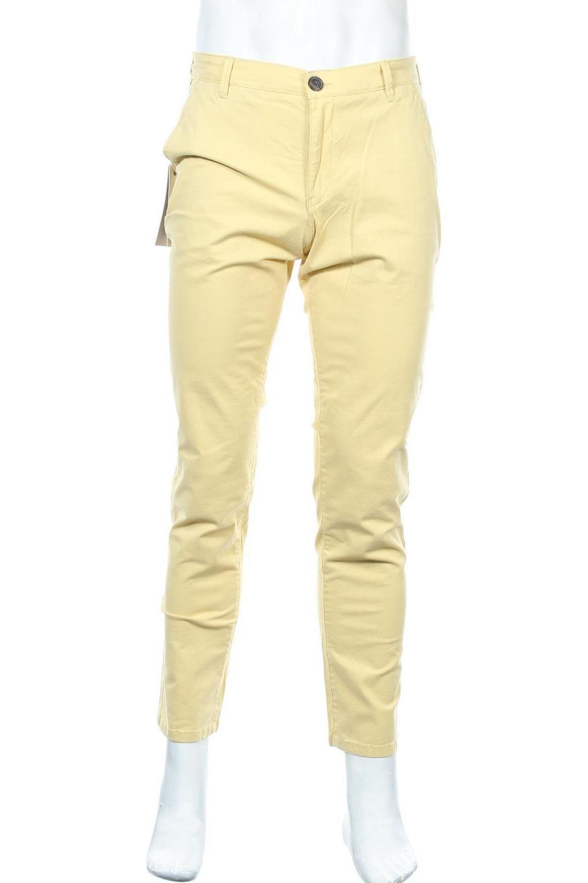 Pantaloni de bărbați Selected Homme, Mărime M, Culoare Galben, 98% bumbac, 2% elastan, Preț 219,57 Lei