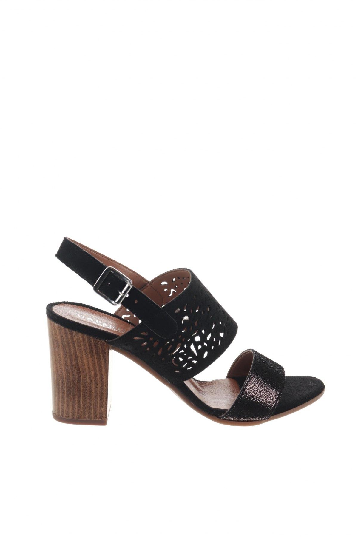 Сандали CAFèNOIR, Размер 38, Цвят Черен, Естествен велур, естествена кожа, Цена 49,02лв.