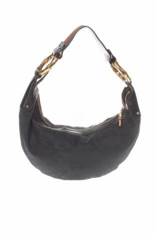Дамска чанта Gucci, Цвят Черен, Естествена кожа, текстил, Цена 642,20лв.