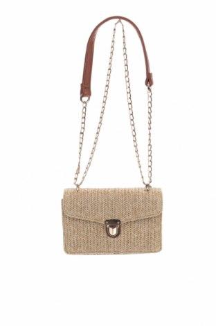 Дамска чанта Pieces, Цвят Бежов, Текстил, еко кожа, Цена 36,75лв.
