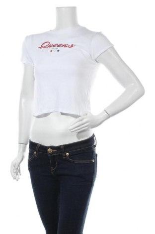 Дамска тениска H&M Divided, Размер XS, Цвят Бял, Вискоза, Цена 5,54лв.