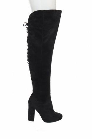 Γυναικείες μπότες Boohoo, Μέγεθος 38, Χρώμα Μαύρο, Κλωστοϋφαντουργικά προϊόντα, Τιμή 11,13€