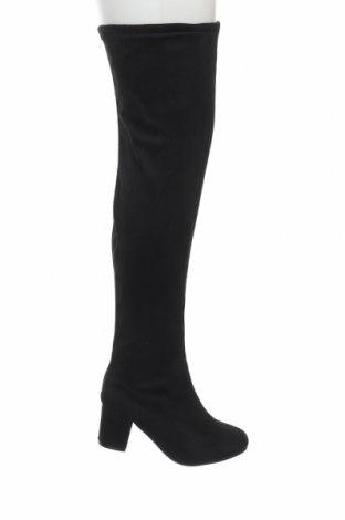 Γυναικείες μπότες Boohoo, Μέγεθος 38, Χρώμα Μαύρο, Κλωστοϋφαντουργικά προϊόντα, Τιμή 11,40€