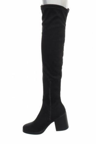 Γυναικείες μπότες Boohoo, Μέγεθος 38, Χρώμα Μαύρο, Κλωστοϋφαντουργικά προϊόντα, Τιμή 13,76€