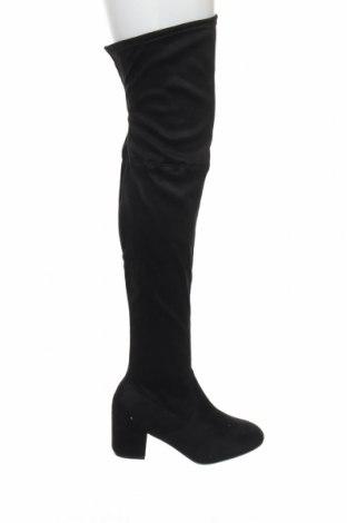Γυναικείες μπότες Boohoo, Μέγεθος 39, Χρώμα Μαύρο, Κλωστοϋφαντουργικά προϊόντα, Τιμή 12,22€