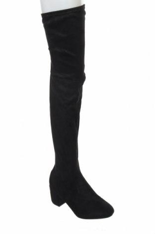 Γυναικείες μπότες Boohoo, Μέγεθος 41, Χρώμα Μαύρο, Κλωστοϋφαντουργικά προϊόντα, Τιμή 12,22€
