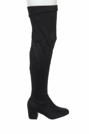 Γυναικείες μπότες Boohoo, Μέγεθος 38, Χρώμα Μαύρο, Κλωστοϋφαντουργικά προϊόντα, Τιμή 12,22€