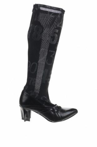 Γυναικείες μπότες Tiggers, Μέγεθος 37, Χρώμα Μαύρο, Κλωστοϋφαντουργικά προϊόντα, γνήσιο δέρμα, Τιμή 15,59€