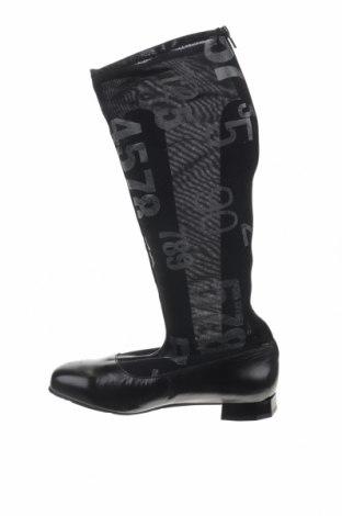 Γυναικείες μπότες Tiggers, Μέγεθος 41, Χρώμα Μαύρο, Κλωστοϋφαντουργικά προϊόντα, γνήσιο δέρμα, Τιμή 19,39€