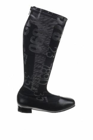 Γυναικείες μπότες Tiggers, Μέγεθος 38, Χρώμα Μαύρο, Κλωστοϋφαντουργικά προϊόντα, γνήσιο δέρμα, Τιμή 21,55€