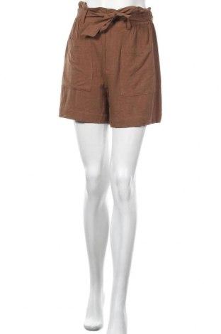 Γυναικείο κοντό παντελόνι Object, Μέγεθος M, Χρώμα Καφέ, 75% βισκόζη, 25% λινό, Τιμή 14,23€