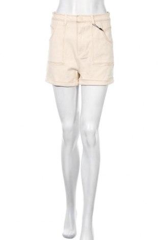 Γυναικείο κοντό παντελόνι Pieces, Μέγεθος M, Χρώμα  Μπέζ, 99% βαμβάκι, 1% ελαστάνη, Τιμή 6,43€