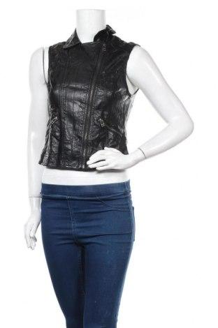 Дамски кожен елек H&M Divided, Размер S, Цвят Черен, Еко кожа, Цена 8,82лв.