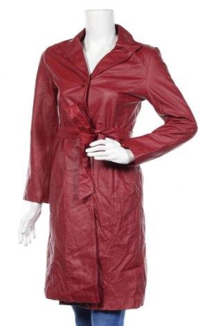 Дамски кожен шлифер, Размер M, Цвят Червен, Естествена кожа, Цена 95,76лв.