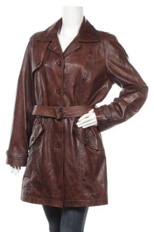 Дамски кожен шлифер, Размер M, Цвят Кафяв, Естествена кожа, Цена 76,17лв.