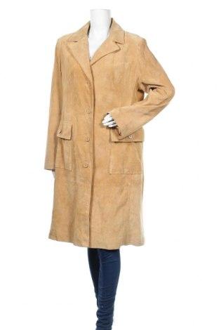 Дамски кожен шлифер H&M B'B, Размер XL, Цвят Бежов, Естествен велур, Цена 29,40лв.