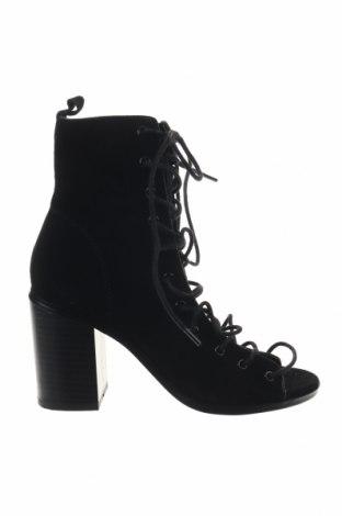 Дамски летни ботуши Reserved, Размер 36, Цвят Черен, Естествен велур, Цена 51,62лв.