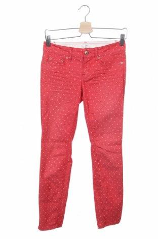 Дамски панталон H&M L.O.G.G., Размер XS, Цвят Червен, 77% памук, 21% полиестер, 2% еластан, Цена 6,83лв.