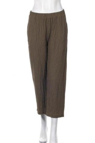 Дамски панталон Pieces, Размер M, Цвят Зелен, 99% полиестер, 1% еластан, Цена 27,60лв.