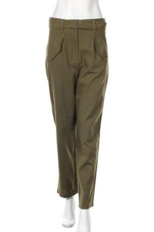 Дамски панталон Vila, Размер M, Цвят Зелен, 30% лен, 30% полиестер, 30% вискоза, 10% памук, Цена 27,60лв.