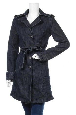 Дамски шлифер, Размер M, Цвят Син, 66% памук, 32% полиестер, 2% еластан, Цена 9,98лв.