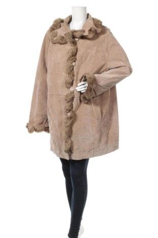 Дамско кожено палто, Размер XXL, Цвят Бежов, Естествена кожа, Цена 128,10лв.