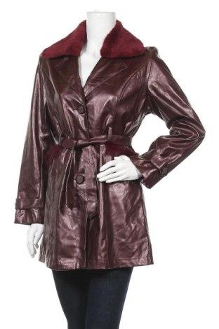 Дамски кожен шлифер, Размер M, Цвят Червен, Еко кожа, Цена 23,14лв.