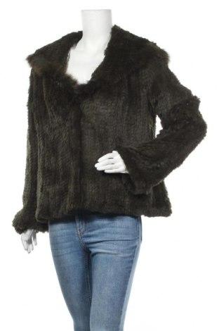 Дамско кожено палто Apanage, Размер L, Цвят Зелен, Естествен косъм, Цена 155,35лв.