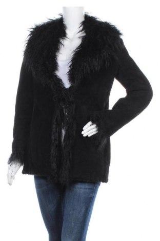 Дамско кожено палто Mango, Размер S, Цвят Черен, Естествен велур, Цена 66,83лв.