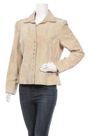 Дамско кожено сако, Размер L, Цвят Бежов, Естествен велур, Цена 58,07лв.