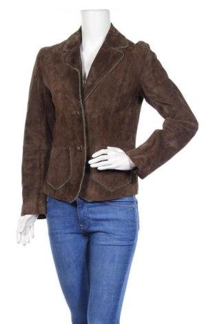 Дамско кожено сако, Размер M, Цвят Кафяв, Естествен велур, Цена 20,86лв.