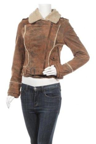 Γυναικείο δερμάτινο μπουφάν, Μέγεθος M, Χρώμα Καφέ, Γνήσιο δέρμα, Τιμή 16,82€