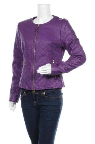Дамско кожено яке, Размер M, Цвят Лилав, Еко кожа, Цена 25,25лв.